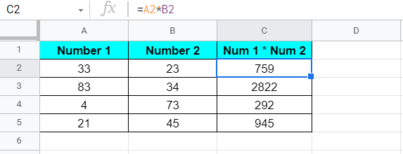 Multiplication of two numbers in Google Sheets