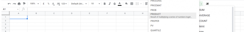 PRODUCT Function in Google Sheets
