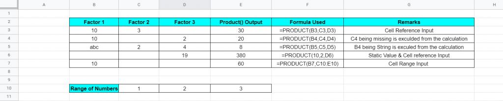 PRODUCT Function Example - Google Sheet