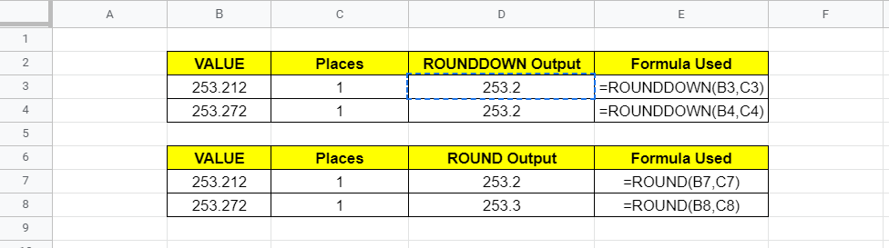 ROUNDDOWN vs ROUND Function - Google Sheets