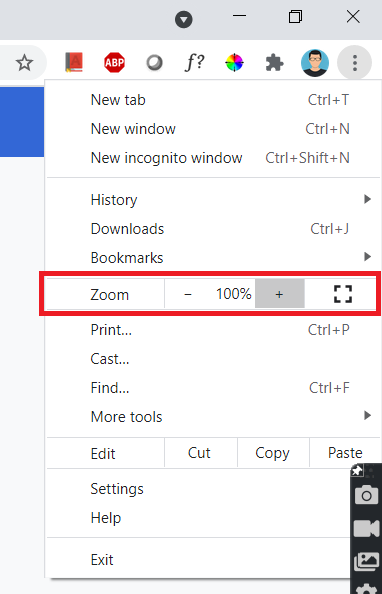 Chrome Browser Zoom