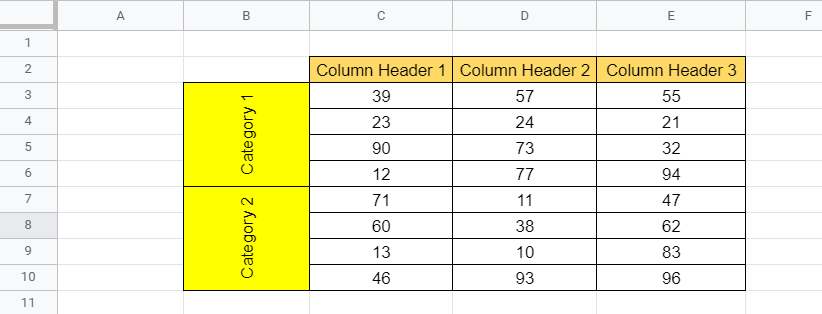 Vertical Text in Google Sheets