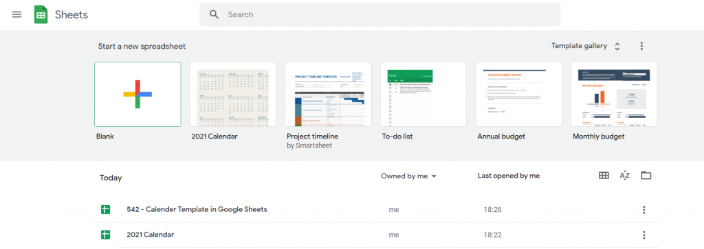 Google Sheets Home Page
