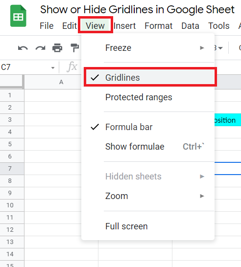 View Option in Google Sheet
