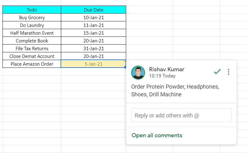 Comments in Google Sheet