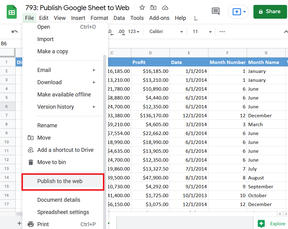 File Options in Google Sheet