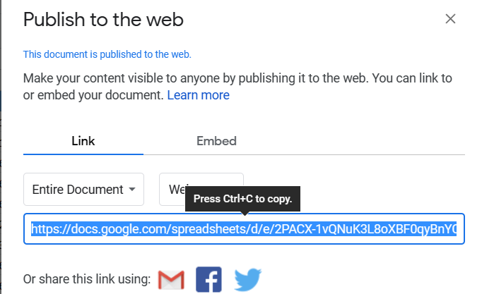 Publish to Web in Google Sheet